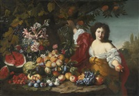 still life of fruits and flowers with a figure by guillaume courtois