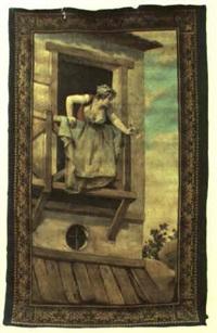 mujer asomada al balcón con una rosa by luis taberner y montalvo