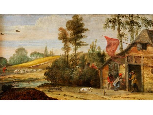 baumlandschaft mit einer anhöhe und einer wirtshauskate mit figurenstaffage by jan peter van bredael the younger