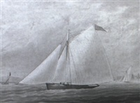 yacht off greenwich, flying a pennant of the royal thames yacht club by j. rogers