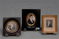 portraits de gentilhommes (3 works, various sizes) by marie victoire jaquotot