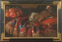 natura morta con cane, violino e frutta by seguace del fieravino