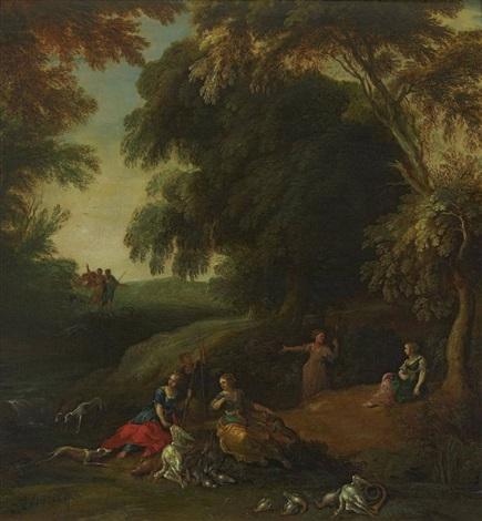 diana mit ihren gefährtinnen und jagdhunden bei der rast in waldlandschaft by jacques d arthois