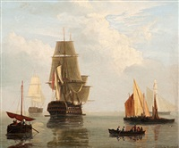 ships at sea by hendrik barend koekkoek