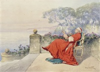 cardinal smoking by alfred charles weber