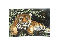 tiger large rectangular extruded platter (designed by dorell pirie) by highland stoneware (co.)