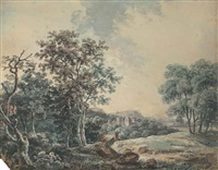 a ruined castle in a wooded landscape (+ a mountainous river landscape; pair) by george barret