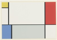 a portfolio of 10 paintings (7 works) by piet mondrian
