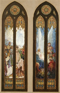the ascension (+ the nativity; 2 stained glass window designs) by corwin knapp linson