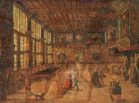 danseurs dans un palais (in the 17th century style) by flemish school