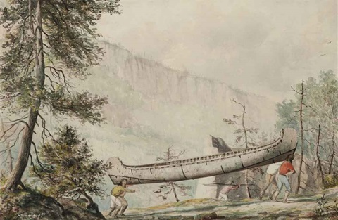 native americans portaging a canoe along the nipigon river by william wallace armstrong