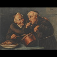 monks enjoying a taste (+ 2 others; 3 works) by raffaele figerio