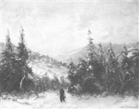 winter landscape with figure by sören simonsen