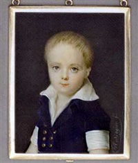 a boy, in short-sleeved double-breasted blue jacket with gold buttons and white shirt, forward combed fair hair by louis marie autissier