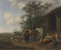 an italianate landscape with peasants outside a barn by gerrit adriaensz berckheyde