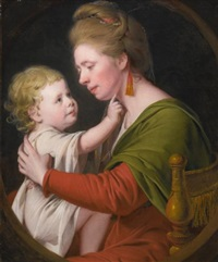 portrait of jane darwin and her son william brown darwin by joseph wright (of derby)