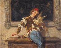 jongen met vogel by josé serra y porson