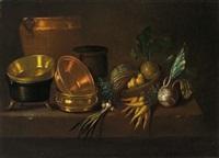 stillleben mit kupfer- und messinggeschirr sowie gemüsen auf einer tischplatte by johann franz nepomuk lauterer