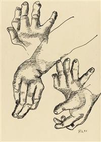 quatre mains: les constructeurs - recto etude de main - verso by fernand léger