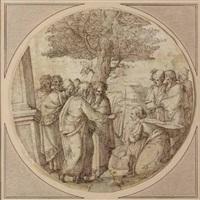 cristo e l'adultera by ercole setti