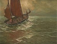 pêcheurs remontant leurs filets by albert isidore de vos