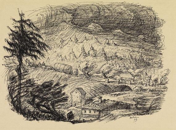 sturm über schardenberg landschaft im regen by alfred kubin