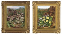 violets and primroses in a hedge (+ red and white heather; pair) by albert durer lucas