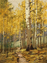 birch forest, autumn by charles partridge adams