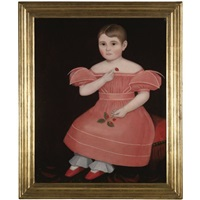 portrait of a rosy cheeked young girl in a pink dress by ammi phillips