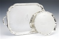 a george v tray and edward viii circular salver (set of 2) by hardy brothers