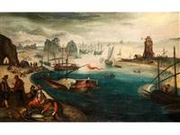 blick auf eine hafenbucht mit zahlreichen schiffen und fischern im vordergrund by anonymous-flemish (17)