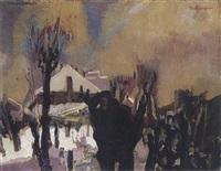 a winter landscape by maarten johannes jungmann