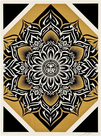 lotus diamond red gold silver set of 3 by shepard fairey