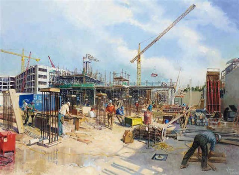 construction site by terence cuneo