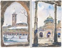vecchia milano, il chiostro dell'incoronata (+ vecchia milano, san lorenzo; 2 works) by daniele fontana