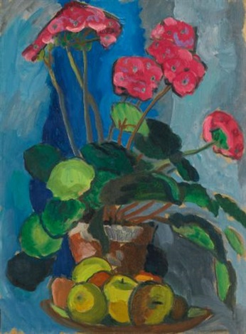 stillleben mit roten primeln still life with red primroses by gabriele münter