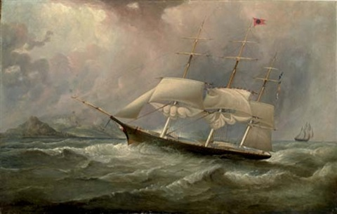 the black ball line clipper ship quotocean chiefquot reducing sail on her australian run by duncan mcfarlane