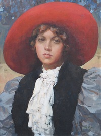 portrait of a girl with a red hat by dianne flynn