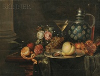 still life with flowers, fruit, and wine by jan davidsz de heem