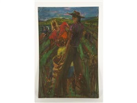 a study of two figures harvesting potatoes by sven berlin