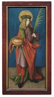 heiliger vitus mit märtyrerpalmzweig und kessel, heiliger andreas mit kreuz (pair) by albrecht dürer