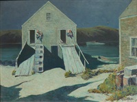 monhegan boat shed by george g. adomeit