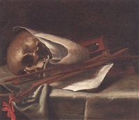 a vanitas with a skull, pochette, and hourglass and a musical manuscript on a draped ledge by petrus schotanus