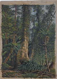 a native standing in jungle, solomon islands by e. sandys