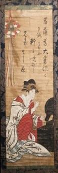 oiran se maquillant devant son miroir by japanese school-ukiyo-e (18)