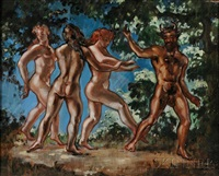 satyr and three nymphs by william horace littlefield