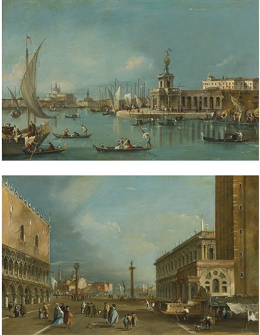 the punta della dogana and the piazzetta looking south 2 works by francesco guardi