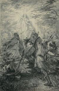 kampfszene mit allegorischer figur by carl röchling