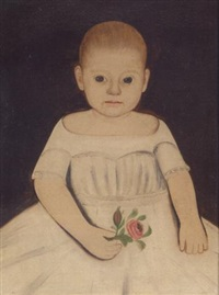 a portrait of a little girl in a white dress holding a rose by william w. kennedy