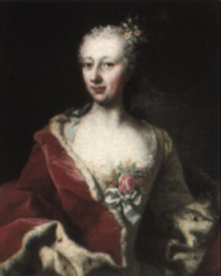 portrait of princess elisabeth auguste of palatine, half-length in green by michael christoph emanuel hagelgans
